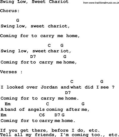 lyrics of swing low sweet chariot top 1000 folk and old time songs collection swing low
