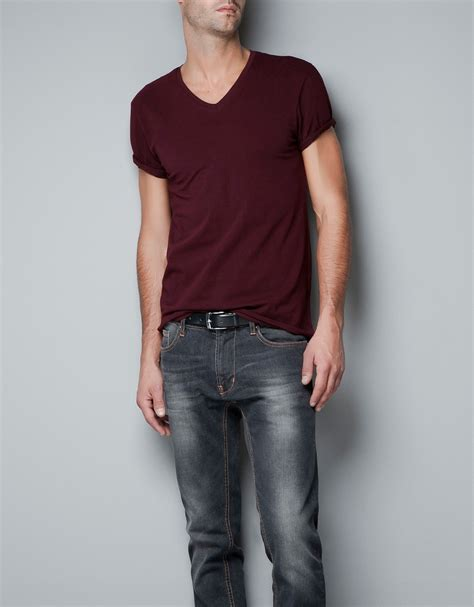 zara slim fit in blue zara slim fit t shirt in for lyst