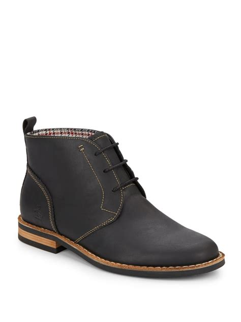 penguin mens boots original penguin merle leather lace up boots in black for