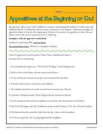 Appositive Worksheet by Appositive Worksheet Lesupercoin Printables Worksheets