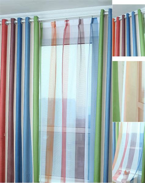 stripes curtains custom multi color polyester cotton blackout striped curtains