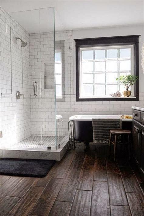 flooring for basement bathroom wood tile floor white subway tile with dark grout black
