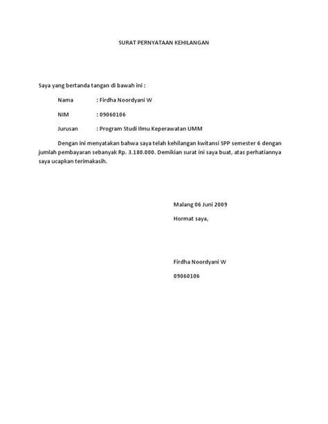surat pernyataan kehilangan