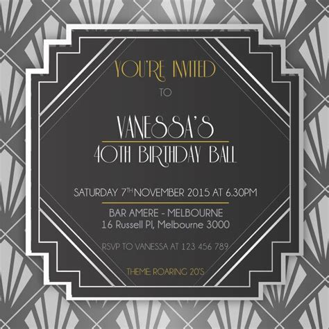 1920 s birthday digital printable invitation template