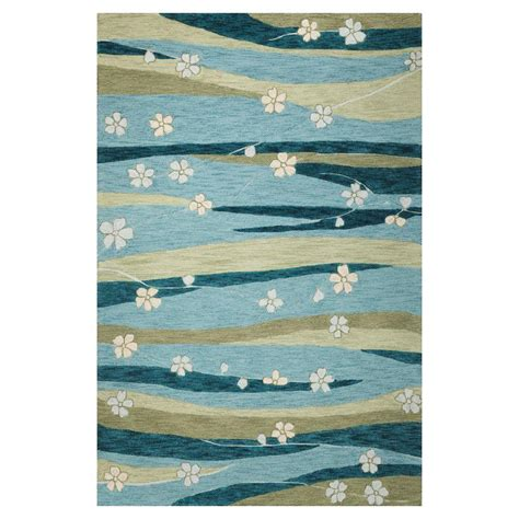 rug 3 ft kas rugs water flowers blue green 3 ft 3 in x 5 ft 3 in area rug mia212933x53 the home depot