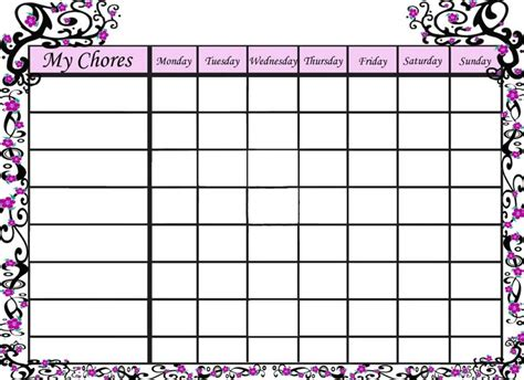 free printable chore chart templates 9 best images of free printable shark chore chart free