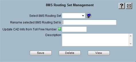 8ms routing set management