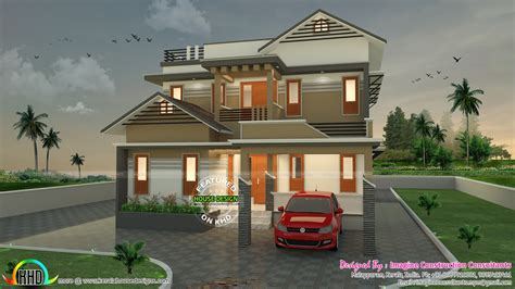 1900 sq feet kerala model sloping roof house house 1900 sq ft modern sloping roof house architecture kerala