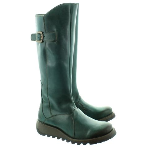 The Boots fly mol2 flat knee boots in petrol in petrol