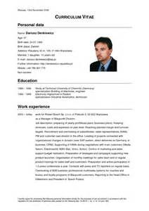 curriculum vitae resume sle german cv template doc calendar doc
