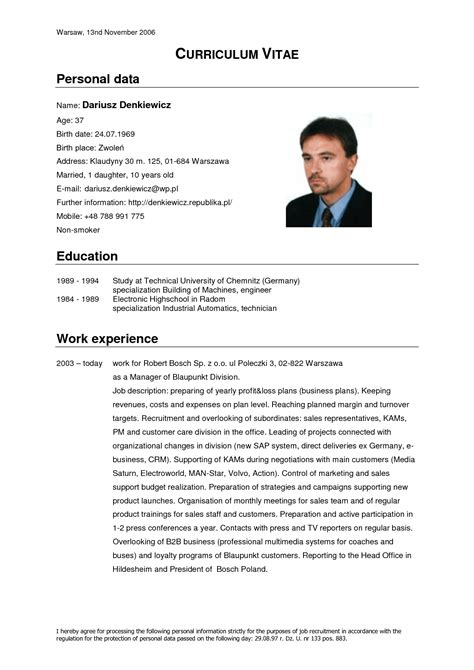 format cv in english german cv template doc calendar doc
