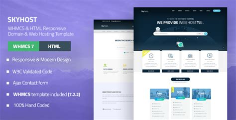 whmcs template nulled skyhost whmcs html responsive domain web