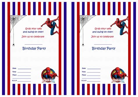 Spider Card Template by Birthday Invitations Birthday