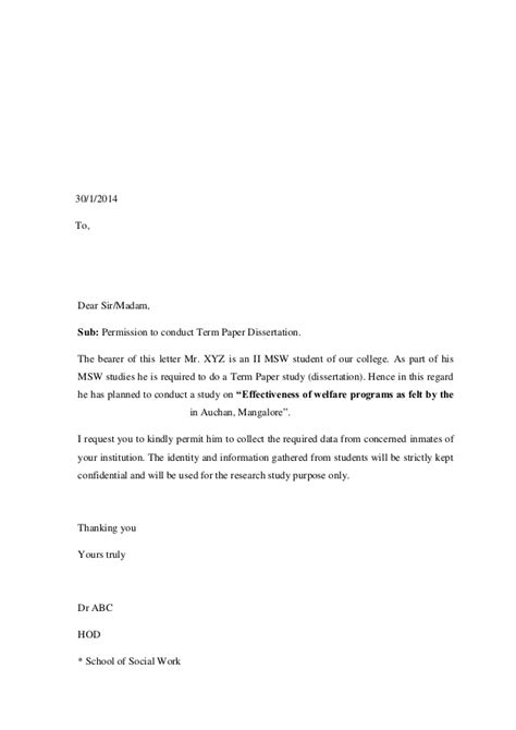 Exle Request Letter To Conduct A Research Study In A School Permition Letters For Dissertation Term Paper