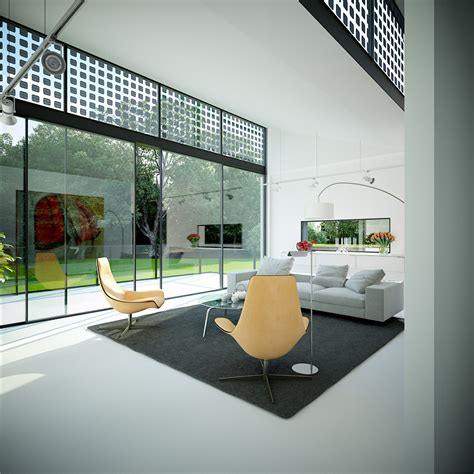 living room floor to ceiling glass wondows interior