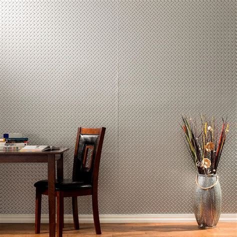 fasade diamond plate 96 in w x 48 in h x 0 013 in d fasade waves horizontal 96 in x 48 in decorative wall