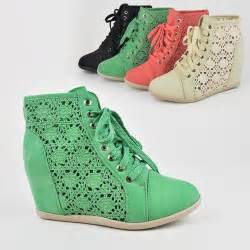 tennis shoe wedges s crochet lace up wedge heel bootie sneaker tennis