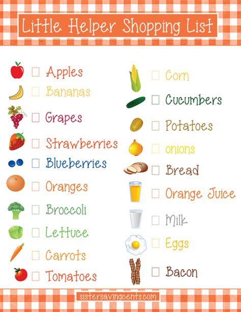 printable grocery list for toddlers a family affair to remember printable grocery lists