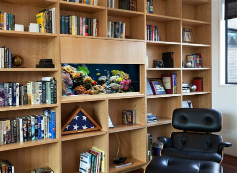 home office book shelf aquarium glass fish tanks