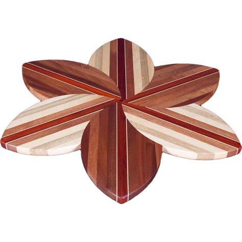 sapele laminated wood flower lazy susan ode to wood