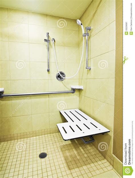 Disabled Shower Height by Handicap Shower Stock Image Image Of Tile Chrome