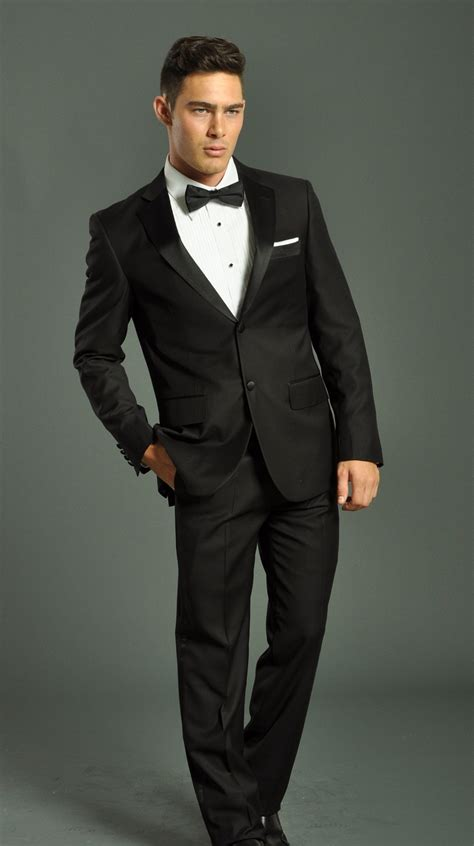 men s men s two button black fellini tuxedo suit men s suits