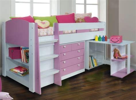 cabin beds for girls pink white diva midsleeper with desk storage bookcase