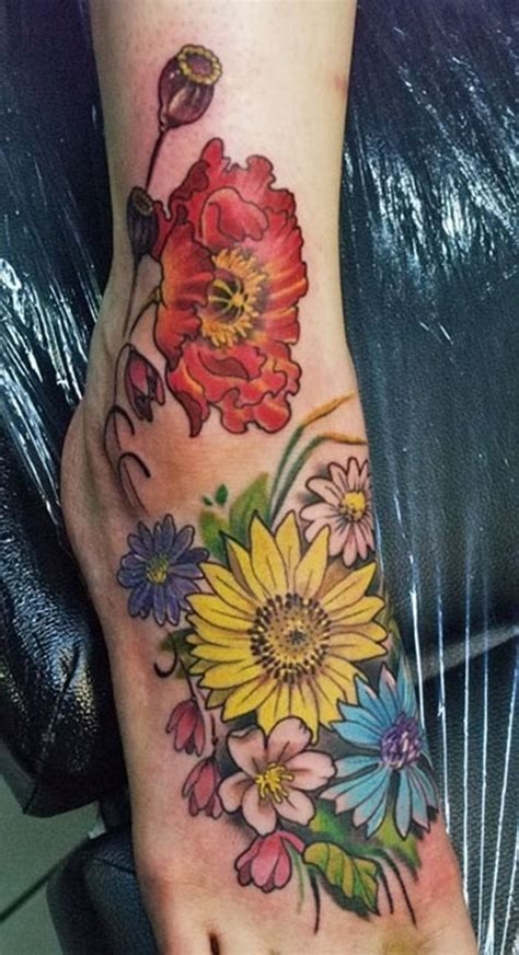 colored flower tattoos beautiful flower foot tattoos for