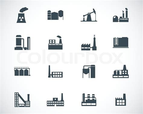 Popular Home Plans vector black factory icons set stock vector colourbox