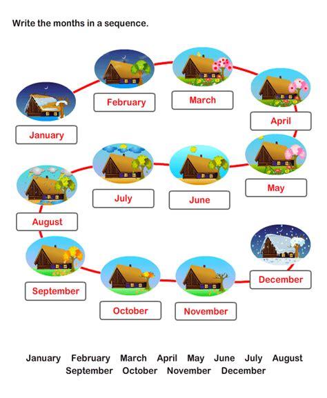 twelve months worksheets  kids  printable