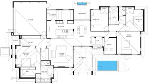 house design blueprints floor plan friday bar alfresco pool