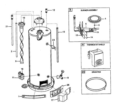 gas water heater parts diagram aosmith water heater parts model gcv50 sears partsdirect