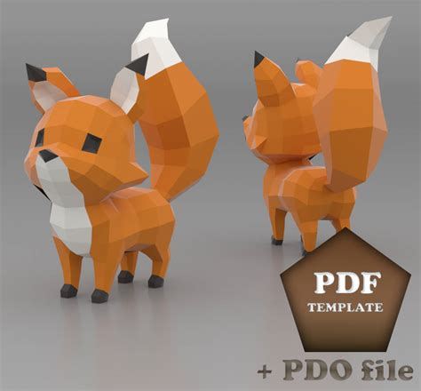 Papercraft Fox - fox papercraft low poly fox diy fox printable pdf