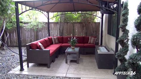 backyard couch backyard before after remodel tv fire pit l shaped