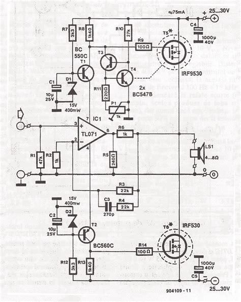 transistor mosfet irf9530 70 watt mosfet audio lifier circuit