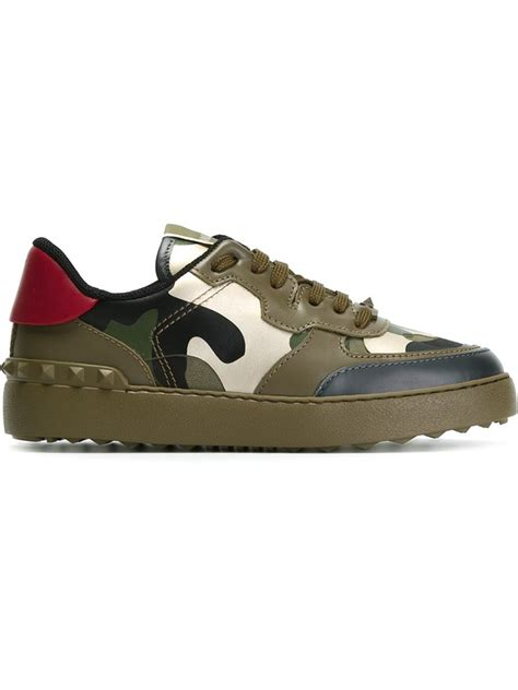 valentino camo sneakers lyst valentino camouflage leather sneakers in green