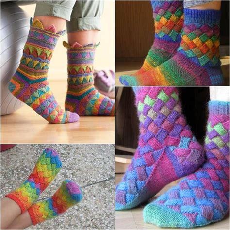 knit socks diy rainbow color patch entrelac knitting socks with