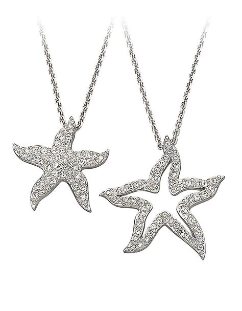 swarovski pave starfish pendant necklace in