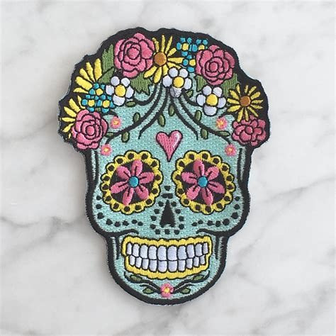 applique iron on sugar skull iron on patch embroidered applique day of