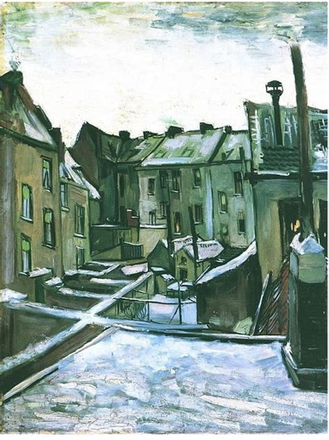 famous house painters backyards of old houses in antwerp in the snow