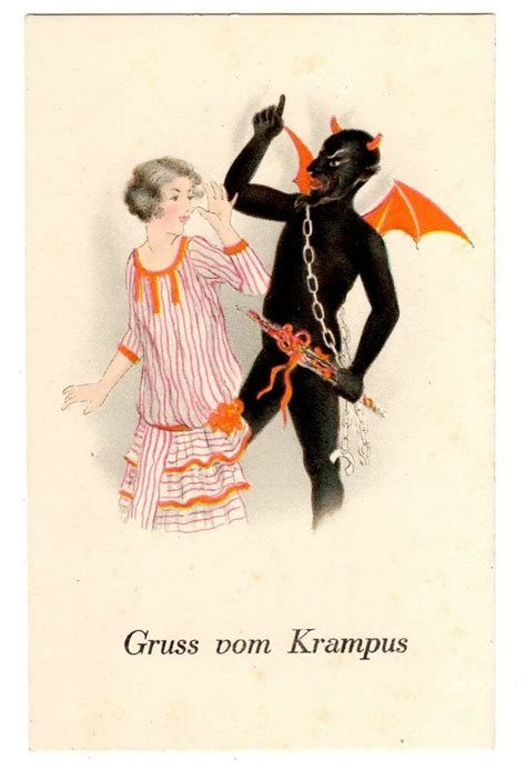 postcard german krampus christmas greeting woman thumbing nose ebay