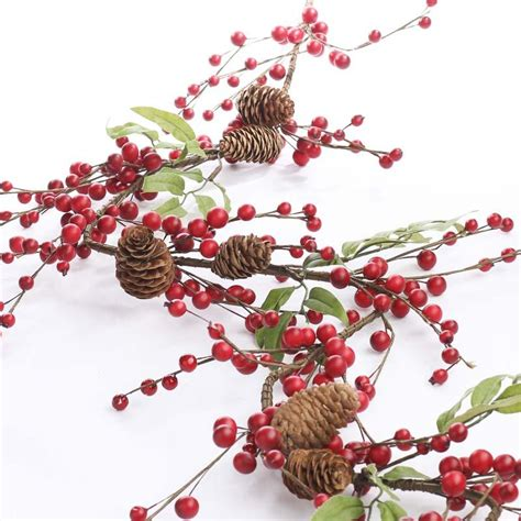 artificial cranberry and pinecone garland christmas