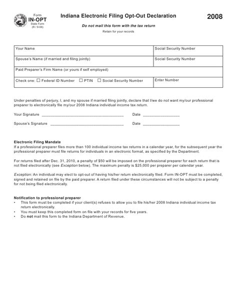 Indiana Electronic Filing Opt Out Declaration Data Protection Declaration Template