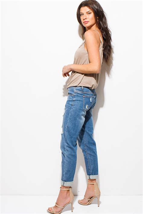 distressed cropped washed shop blue washed denim distressed mid rise cropped cuffed