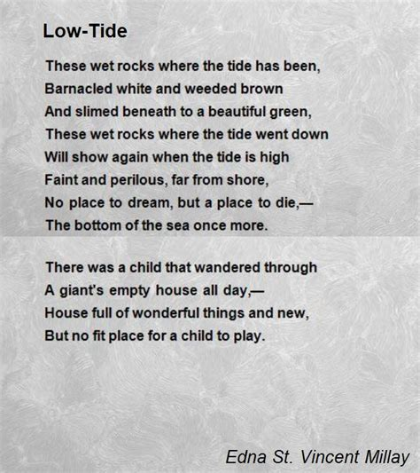 let s go the tide is low books low tide poem by edna st vincent millay poem
