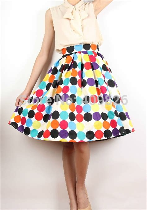 Midi Flare Skirt Pastel Limited 2015 summer 50s vintage big pastel colored polka dot print midi pleated a line high