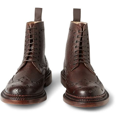 grenson fred welt pebble grain leather brogue boots