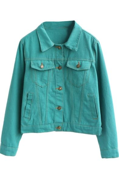 Try A Brightly Coloured Jacket For by Bright Color Plain Single Breasted Cropped Denim Jacket
