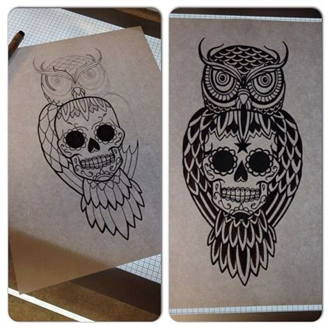 sugar skull owl tattoo designs owl sugar skull suche