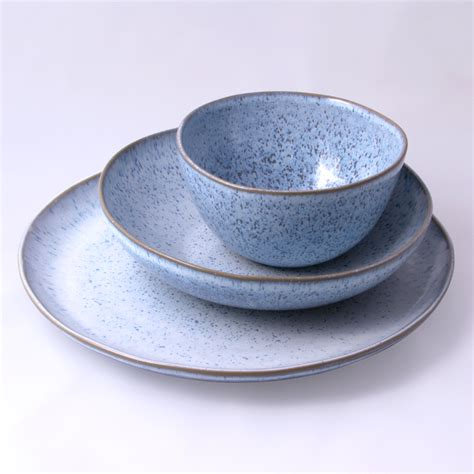 Handmade Pottery Dinnerware Sets - blue speckled handmade ceramic dinnerware set of 18